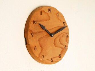 木製 掛け時計 丸 けやき材34の画像
