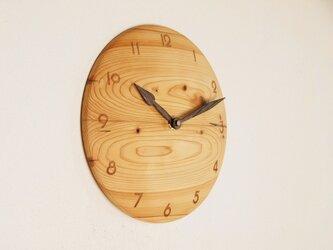 木製 掛け時計 丸 桧材2の画像