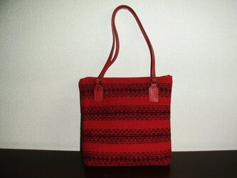 手織のバッグ(赤)の画像