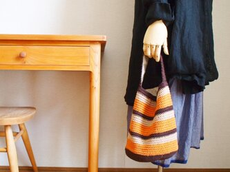 マルチボーダーのワンマイルバッグ*オレンジの画像