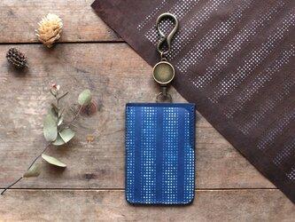 藍染革[江戸小紋]  リール付ICカード・パスケースの画像