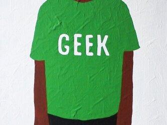 ナマケモノ(GEEK緑色Tシャツ) M8サイズ絵画の画像