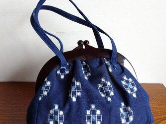 手織り久留米絣:亀の子模様のミニ手提げ(B-40)の画像