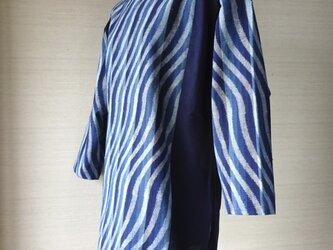 手織り久留米絣:曲がり縦縞のチュニック・プラウス(W-7)の画像