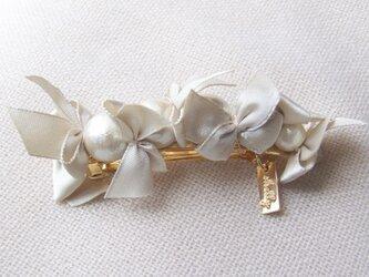 ribbon&cottonpearlbarrette【ゴールド】の画像