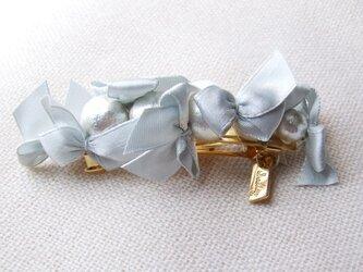 ribbon&cottonpearlbarrette【シルバー】の画像