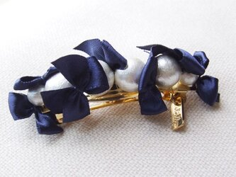 ribbon&cottonpearlbarrette【ネイビー】の画像