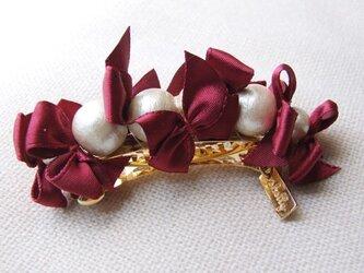 ribbon&cottonpearlbarrette【ボルドー】の画像