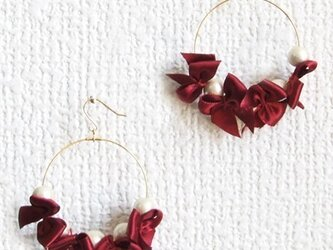 ribbon&cottonpearl pierce【ボルドー】の画像