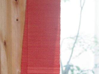 夕焼け色のウールミニマフラー 草木染め(あかね)・手織りの画像