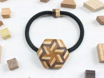 寄木のストライプ六角ヘアゴムの画像