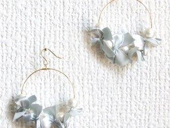 ribbon&cottonpearl pierce【シルバー】の画像