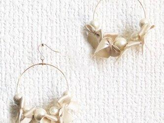 ribbon&cottonpearl pierce【ゴールド】の画像