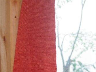 あかねとくるみのウールミニマフラー 草木染め・手織りの画像