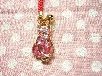 猫の根付 ストラップ (ピンク) (レジン)の画像