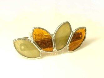 ステンドグラス製バレッタ【Leaf】べっ甲色アンバーの画像