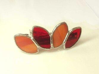 ステンドグラス製バレッタ【Leaf】あかね色オレンジの画像