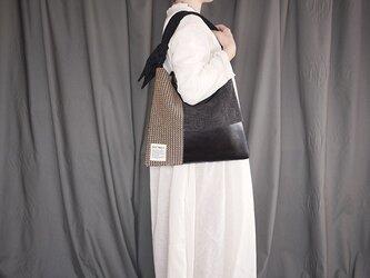 墨染め patchwork bag M (千鳥柄カーテン)の画像
