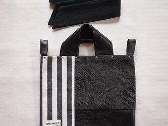 墨染め patchwork bag S (藍染めストライプ)の画像