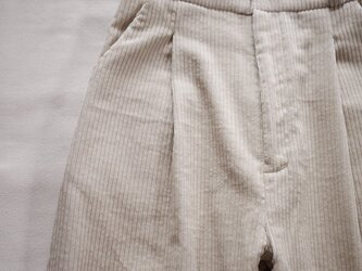 corduroy widetuck pants <太Offwhite>の画像
