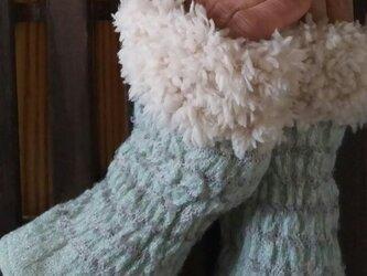 ファーあり カシミヤ手織りアームウォーマー  F50の画像