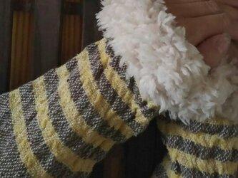 ファーあり カシミヤ手織りアームウォーマー  F48の画像