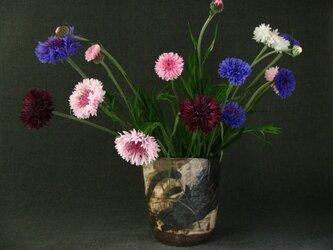 花器 焼締め黒文様花生け 陶芸家オリジナル陶器(54)の画像