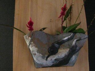 陶器 花器 掛花-雲 陶芸家オリジナル(1)の画像