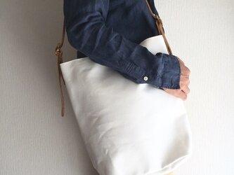 6号帆布と極厚オイルヌメの3wayバッグ【ホワイト】の画像