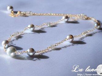 あこや真珠シルバーのネックレスの画像