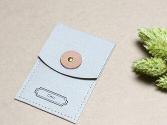 Chic グレー) 気持ちを伝える 小さな 本革付 封筒 ポチ袋の画像