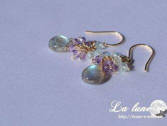 ラブラド紫陽花イメージピアスの画像