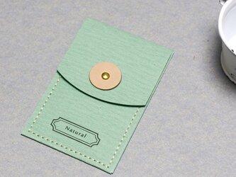 Natural ミント ) 気持ちを伝える 小さな 本革付 封筒の画像