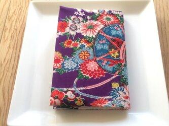 ブックカバー文庫本用 紫地の花柄の画像