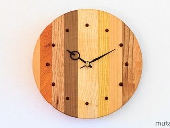 寄せ木の壁掛け時計 円形28の画像
