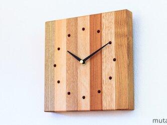 寄せ木の壁掛け時計 四角6の画像