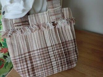 手織りミニトートバック チェック 茶の画像