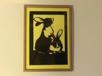 うさぎの切り絵の画像