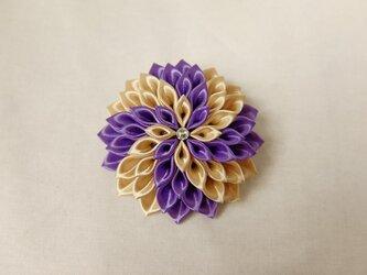 金紫の風車・つまみ細工のコサージュの画像