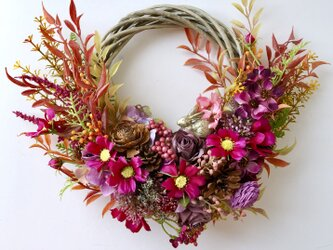 Autumn cosmos wreath VII + rabbitの画像