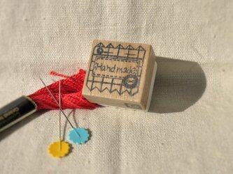 Hand madeはんこ(チェックの布)の画像