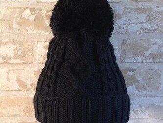 【受注後製作】ニット帽アルパカ×ラムウール 黒(ボンボン付)の画像