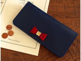 *栃木レザーのリボン付き2つ折り長財布 ロングウォレットの画像