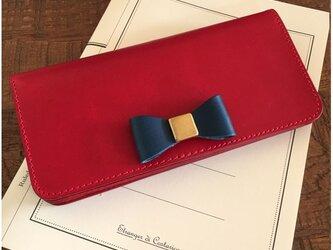 *イタリアンレザーブッテーロのリボン付き2つ折りロングウォレット 長財布 フルオーダー リボンLサイズの画像