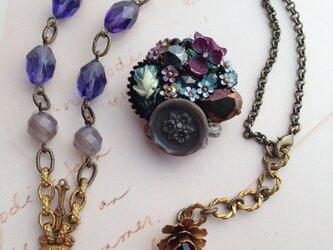 bouquet de violettes 菫の花束ブローチ&ネックレスの画像