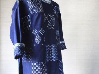 手織り久留米絣:59枚パッチワークのチュニック・プラウス(W-23)の画像