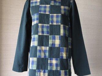 手織り久留米絣:山桃藍のパッチワークのチュニック・プラウス(W-28)の画像