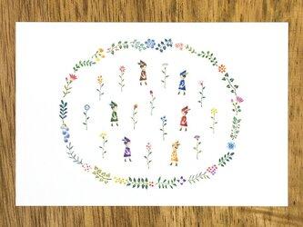 """4枚セット。とある庭の物語。ポストカード """"小人と花々の暮らす庭"""" PC-135の画像"""
