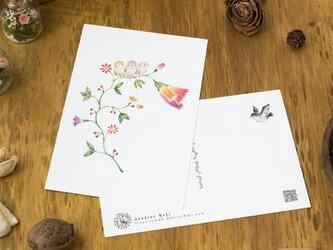 """4枚セット。絵本のような。ポストカード """"三羽の小鳥と草花"""" PC-117の画像"""