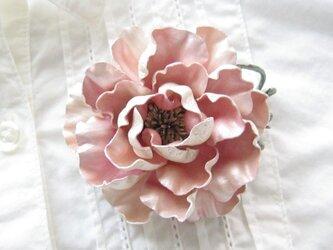 革のコサージュ オールドローズ(スイートピンク)の画像